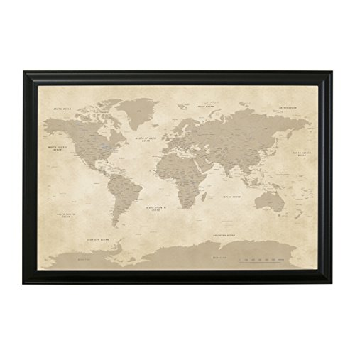 Personalized Vintage World Push Pin Travel Map with Black Frame and Pins 24 x 36 - Personalized World Map With Pins