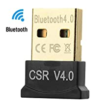 wewa98698 Mini 4.0 USB Bluetooth Adaptador de Audio Receptor para portátil Windows 8/10 Mac Linux – Negro