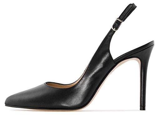 Soireelady Women's Slingback Court Shoes 10cm Closed Toe Ankle Strap High Heel Pumps Black US11.5 (High Heel Court Shoes With Ankle Strap)