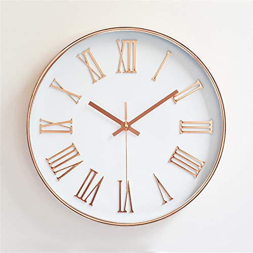 Jeteven 12'' Wall Clock Non Ticking Glow Silent Rose Gold Wall Clock Roman DialBattery Operated Quartz Round for Indoor Outdoor Living Room Bedroom Kitchen Home Decor White (White White Gold Clock)