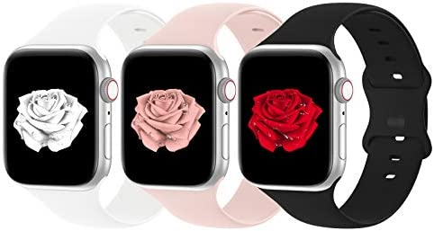 Bandiction Compatible with Apple Watch Band 38mm 40mm iWatch Bands 42mm 44mm Women Men, Soft Silicone Sport Replacement Strap Compatible for Apple Watch SE Series 6 5 4 3 2 1, Sport Edition, 3 Pack