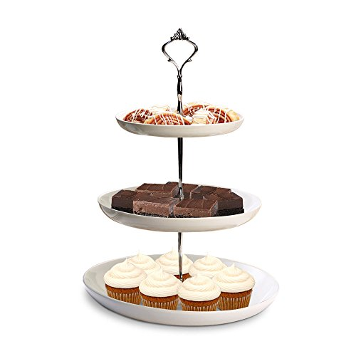 3 Tier Cake Stand, White Ceramic with Silver Handle - Serving Platter for Cupcakes, Desserts, Buffet, Tea Party, Pastry - Dishwasher Safe (7
