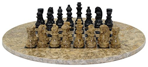 Round Board Chess (WorldWise Imports Round Marble Coral and Black Chess Set)