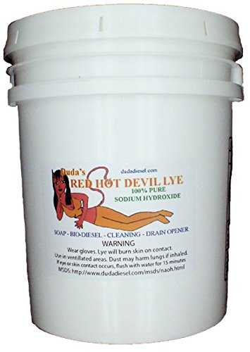 50 lb Red Hot Devil Lye Sodium Hydroxide Meets Food Chemical Codex High Grade Caustic Soda Beads by Duda Energy
