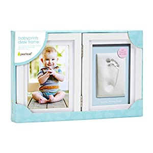 Pearhead Babyprints Newborn Baby Handprint and Footprint Desk Photo Frame & Impression Kit – Makes A Perfect Baby Shower Gift, White