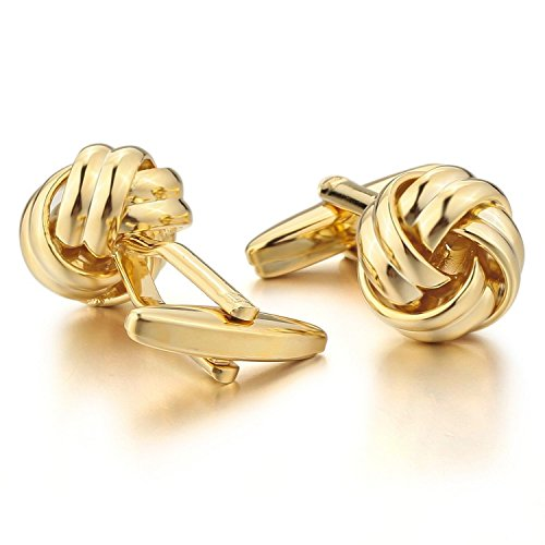 Knot Gold Plated Men Unisex Wedding Gift Wedding Business Cufflink 1 Pair (Cuff Gold Plated Cufflinks)