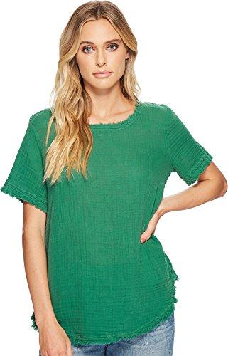Michael Stars Women's Double Gauze Short Sleeve Raw Edge Tee Emerald Medium