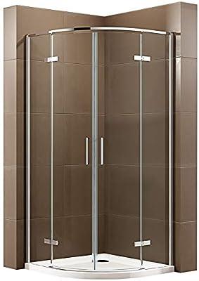 Cabina de ducha de cuarto de círculo con puerta giratoria EX406A – Cristal de seguridad Nano ESG – Tamaño a elegir: Amazon.es: Bricolaje y herramientas
