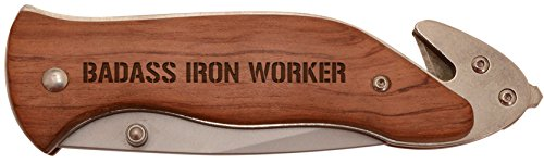 Father's Day Gift for Badass Iron Worker Laser Engraved Stainless Steel Folding Survival Knife