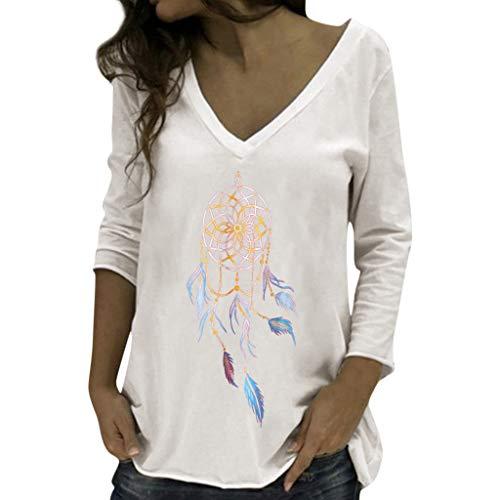 ANJUNIE Women's Casual V-Neck T-Shirt Long Sleeve Tee Printed Basic Tops Blouses(White,M) ()