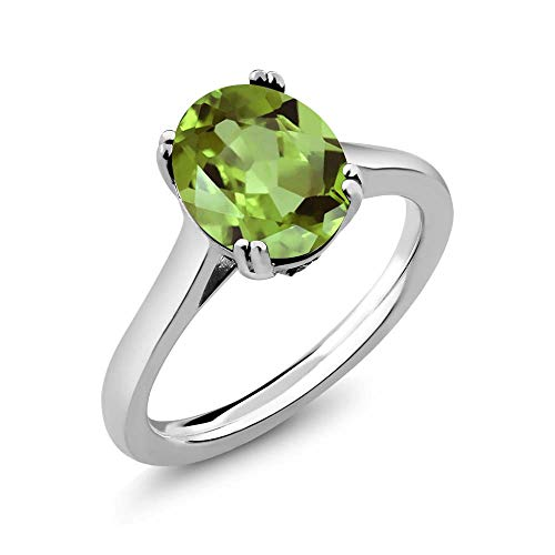 Gem Stone King 3.03 Ct Oval Green Peridot White Diamond 925 Sterling Silver Solitaire Ring (Size 7)