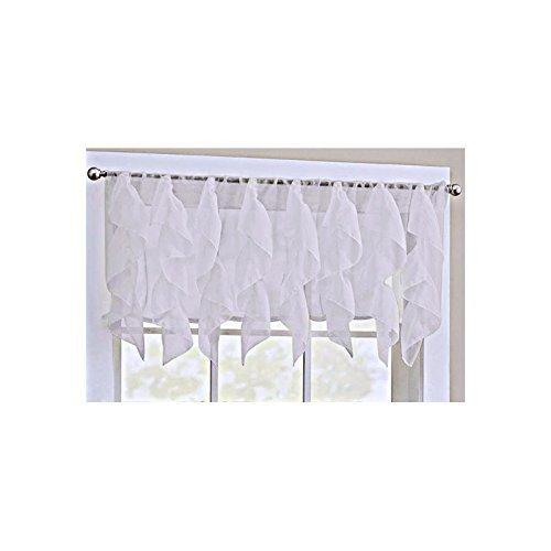 Cascade White Shabby Chic Sheer Ruffled Valance (White Window Valance)