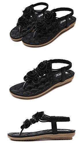 Chanclas tobillo de la Clip Mujeres Vintage Sweet Bohemian Zapatos de Minetom pie correa Correa la Elástico Flower del Pisos del correa dedo T Sandalias del negro vTwBq0