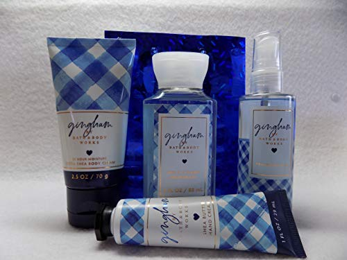 Bath and Body Works New Gingham Gift Set W Blue Gift Bag, Gingham 3 oz Body Lotion, 3 oz Shower Gel, 3 oz Body Mist and 1 oz Hand Cream