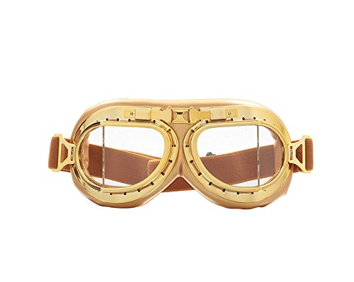 CRG Sports Vintage Aviator Pilot Style Motorcycle Cruiser Scooter Goggle T08 T08GCG - Parent (Gold frame Clear lens)