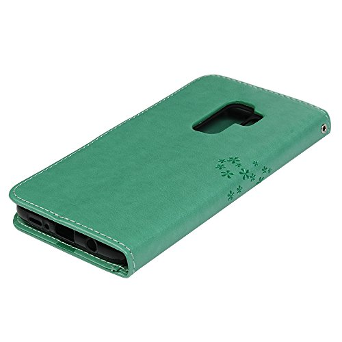 Funda para Samsung Galaxy S9 Plus Libro de Cuero Con Tapa y Cartera Carcasa PU Cuero Con TPU Silicona Case Interna Suave Soporte Plegable Ranuras para Tarjetas y Billetera Cierre Magnético - VISPOW Verde Menta