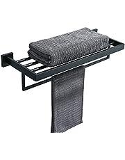 TURS Bathroom Towel Rack Black Towel Shelf with Towel Bar 2 Layers Bath Towel Holder Wall Mount SUS Stainless Steel