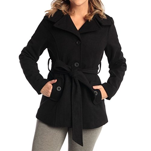 Womens Belted Blazer Alpine Swiss Wool Blend Hot Convertible Funnel Neck Collar, Black (Funnel Collar Coat)