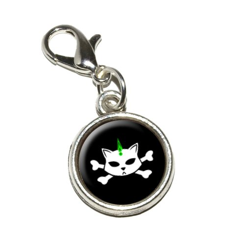 Graphics and More Skulls and Crossbones Cat Stick Figure Family Pet Antiqued Bracelet Pendant Zipper Pull Charm with Lobster Clasp