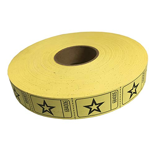 2000 Yellow Star Single Roll Consecutively Numbered Raffle Tickets ()