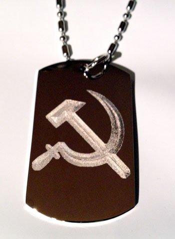 (Hammer and Sickle USSR Former Soviet Union Flag Logo Symbol - Military Dog Tag Luggage Tag Metal Chain Necklace)