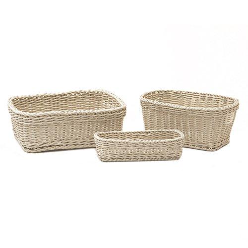 - Seville Classics Nesting Wicker Weave Storage Basket Set 3-Piece, Ivory