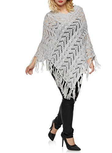 [16189XR-GRY-3X] Women's Plus Size V Style Poncho Wrap: Striped Fringe Pullover (Plus Size Poncho)