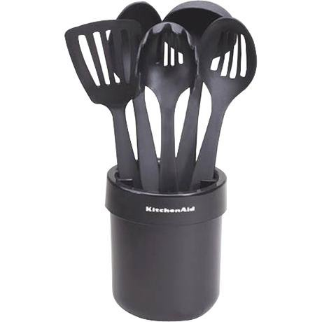 kitchenaid utensils. amazon.com: kitchenaid kat560ob cook\u0027s series ceramic crock with tools set, black: kitchen tool sets: \u0026 dining kitchenaid utensils