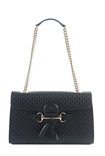 Gucci Authentic Handbag Bag - Gucci Women's Micro GG Guccissima Leather Emily Purse Handbag (Black)