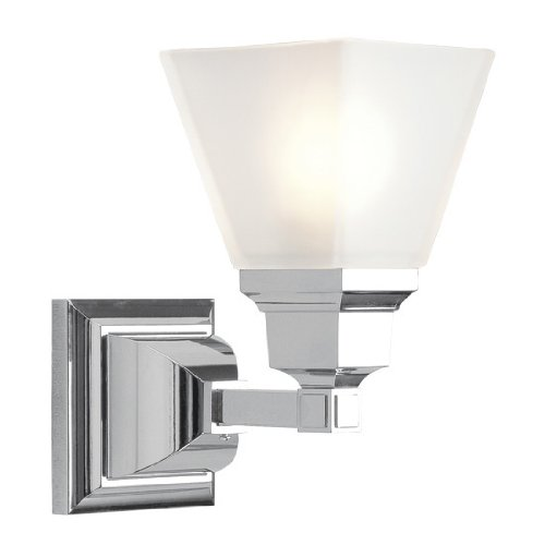 Livex Lighting 1031-05 Mission Wall Sconce Polished Chrome with Frosted Glass by Livex Lighting