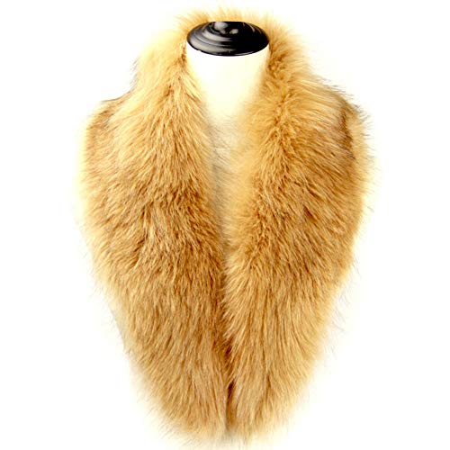 Dikoaina Extra Large Women's Faux Fur Collar for Winter Coat,Khaki,120cm ()