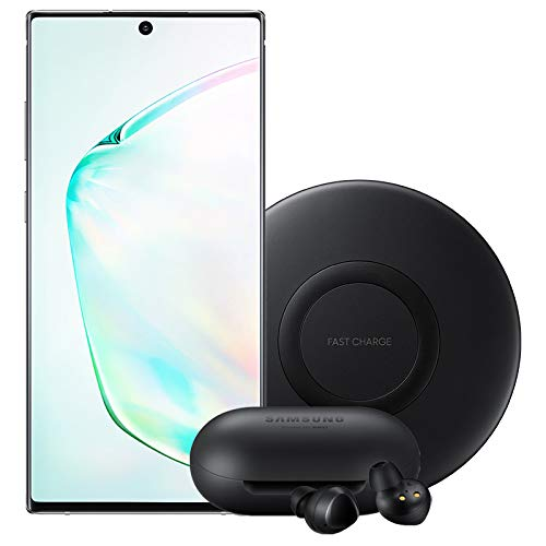 Samsung Galaxy Note 10 Factory Unlocked Cell Phone with 256GB (U.S. Warranty), Aura Glow (Silver) Note10 with Bluetooth True Wireless Earbuds and Wireless Charger Pad (Samsung Notebook Cellphone)