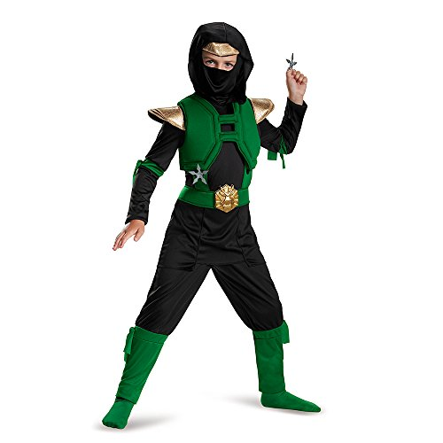 The Green Ninja (Green/Black Master Ninja Deluxe Costume, Large (10-12))
