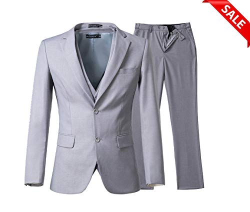 Yanlu Mens 3 Piece Suits Slim Fit Two Buttons Wedding Prom - Trouser Two Suit Piece