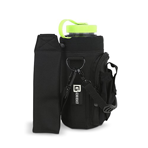 """Gear Beast Water Bottle Holder w/ Handle, Shoulder Strap, 2 Pockets for Phone, Wallet, Keys. Carry Protect Insulate Bottles Hydro Flask,Swell,Yeti,Camelbak,Polar, 32oz Bottles up to 3"""" Round"""
