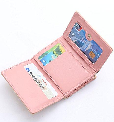 Elegant Kurz Geldbeutel Geldbörse Damen PU Leder Klein Portemonnaie Brieftasche Rosa