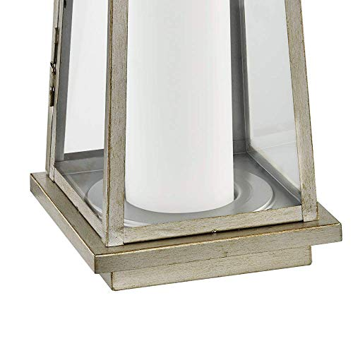 Stone & Beam Modern Traditional Decorative Metal and Glass Lantern with Candle, 25''H, Champagne Silver, For Indoor Outdoor Use by Stone & Beam (Image #6)