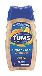 Tums Antacid Chewable Tablets, Extra Strength, Sugar free, Orange, 80-Count Bottles (Pack of 4)