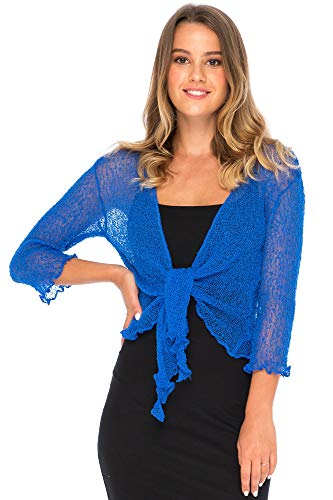 Back From Bali Womens Lightweight Knit Cardigan Shrug Lite Sheer Bluebell