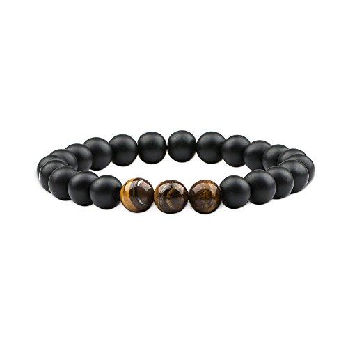 (Citled 1Pc Bead Bracelet Unisex Natural Stone Tiger Eyes Chain Bracelet 8mm Elastic)