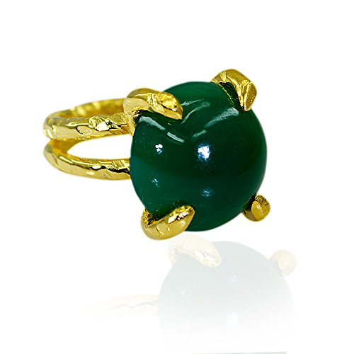 Buy Riyo Unique Green Onyx 18k Gold Plating Class Ring For