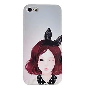 Beauty Girl Pattern TPU Soft GEL Case for iPphone 5/5S