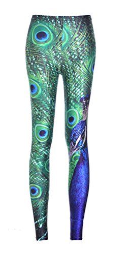Jescakoo Women's Cool Cosplay Costume Skinny Leggings Peacock Feather Print Green L