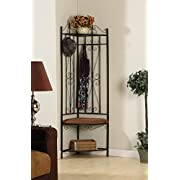 Kings Brand Black Metal Corner Entryway Hallway Rack With Bench & 6 Hooks