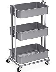 SimpleHouseware Heavy Duty 3-Tier Metal Utility Rolling Cart