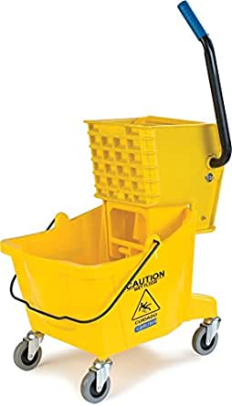 Carlisle 3690804 Commercial Mop Bucket With Side Press Wringer, 26 Quart Capacity, Yellow