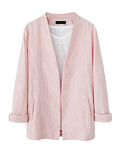Femme Veste de Tailleur Casual Cardigant Slim V-Cou Blazer Costume Manche Longue Jacket Pink