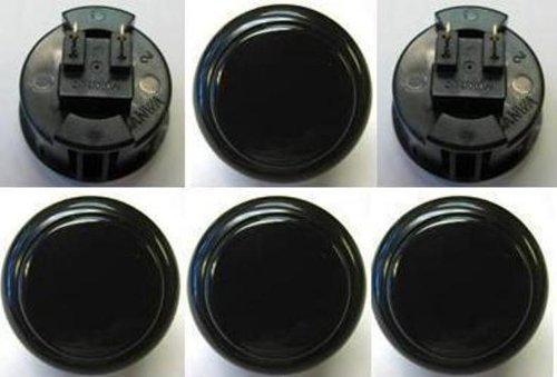 Sanwa 6 pcs OBSF-30 Black OEM Arcade Push Button (Mad Catz SF4 Tournament Joystick Compatible) (Original Version)