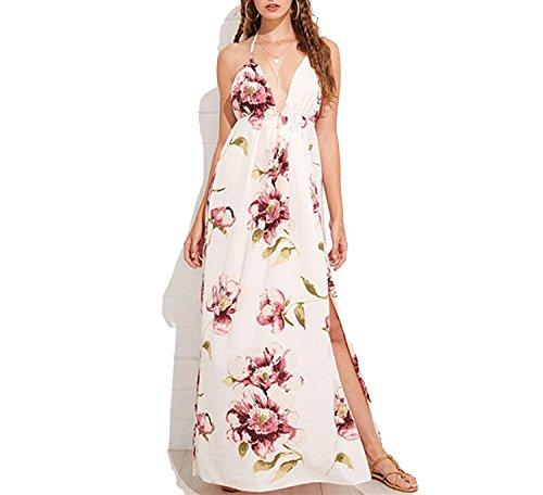 Floral Print Split Hem Summer DressBackless Plunge Neck Dress V Neck Beach Dress,Multi,XXL]()