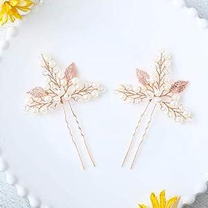Yean Bridal Hair Pins Set Wedding Leaf Hair Pin for Women and Girls (Set of 2)